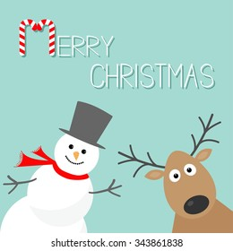 Snowman and deer. Blue background. Candy cane. Merry Christmas card. Flat design  Vector illustration
