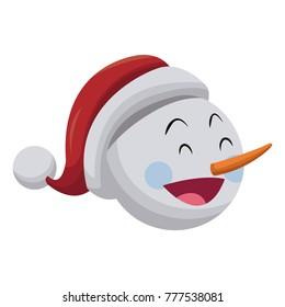 Snowman face christmas cartoon