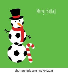 snowman football with a text - Merry Football illustration isolated in a green background