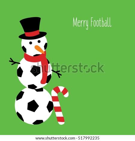 Snowman Football Text Merry Football Illustration Stock Vector