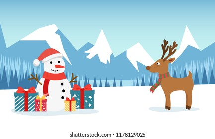 Snowman and funny deer on the background of a winter mountain landscape with a forest and a snow-covered field. Christmas and New Year design greeting cards