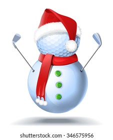Snowman golfer with irons in red Santa Santa hat on golf ball. Vector isolated illustration on white background