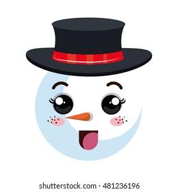 snowman happy face cartoon