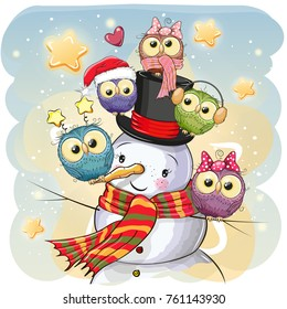 Snowman in a hat and five Cute Cartoon Owls