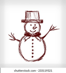 Snowman with hat. Hand drawn vector illustration on light grey background