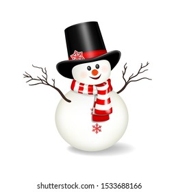 Snowman with hat, isolated on white background.