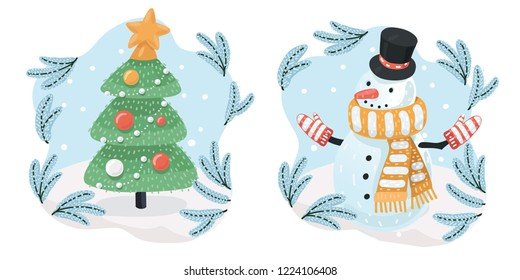 Snowman with hat on the head and with scarf and mittens. Christmas tree with golden star on the top. Snowfall. Vector cartoon illustration of Happy New Year in modern concept