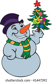 snowman in his hand decorated Christmas tree.