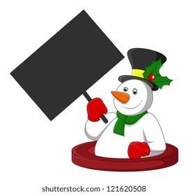 Snowman Holding a Blank Banner