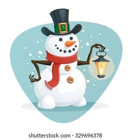 Snowman holding a lamp