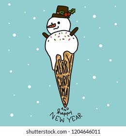 Snowman ice-cream cartoon vector illustration cute doodle style