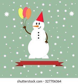 Snowman icon. Flat design style modern vector illustration. Isolated on stylish color background.
