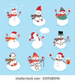 Snowman. Icon. Simple style. Vector illustration isolated on white background.