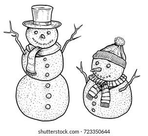 Snowman illustration, drawing, engraving, ink, line art, vector
