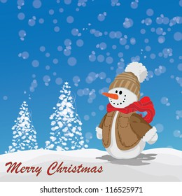 snowman with jacket and hat sm over snowy day with Christmas tree in background