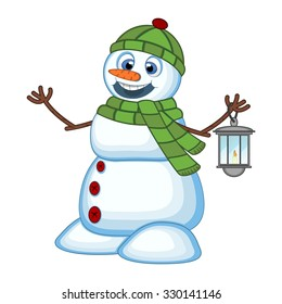 Snowman with a lantern and wearing a head cover and a green scarf for your design Vector Illustration