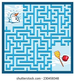 Snowman Maze Game (help the Snowman find his broom and hat - Maze vector puzzle)
