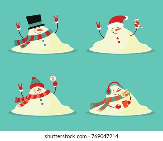 Snowman melted. flat vector illustration in cartoon style isolation on a blue background.