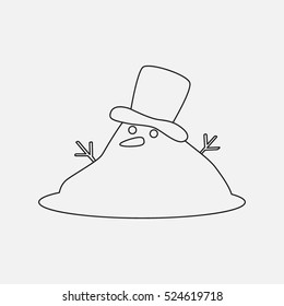 Snowman melted. vector illustration of a flat in a linear style isolation on a light background. easy to use