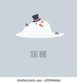 Snowman melting isolated illustration. happy Christmas in the winter or in the summer with carrot, hat & branch on light blue background. vector flat design style simple clean cartoon