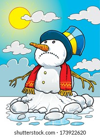 Snowman melting on the sun.