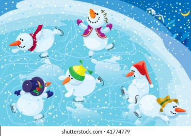 Snowman on a skating rink