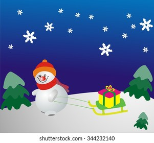 Snowman on a sled driven by a gift. Snowman with a gift. Vector illustration.