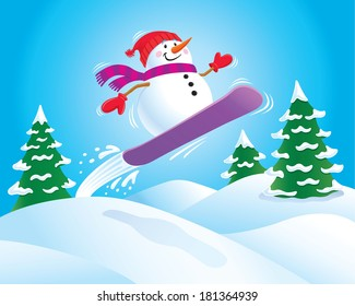 Snowman On A Snowboard Flying Over A Slope