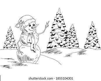 Snowman in park graphic black white landscape sketch illustration vector