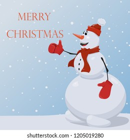 Snowman in a red hat, scarf and red mittens. Christmas background with a snowman. Vector. Snowman and snow.