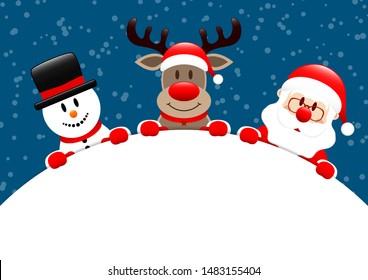Snowman Reindeer And Santa Round Banner Snow Dark Blue