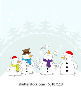 Snowman in the role of a juggler with the audience. Vector.