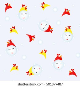 Snowman in a rooster suit. Seamless Christmas pattern.