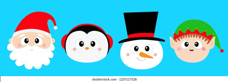 Snowman Santa Claus Elf Penguin bird round face head icon set. Merry Christmas. New Year. Cute cartoon funny kawaii baby character. Greeting card. Flat design Blue background. Vector illustration
