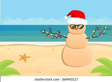 Snowman Santa Claus on a sandy tropical beach, vector flat illustration