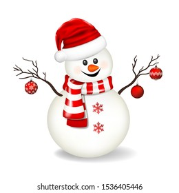 Snowman with santa hat, isolated on white background.