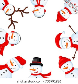 Snowman in scarf, boots, mittens, hat and tie. postcard for the new year and Christmas. Isolated objects on white background. Frame for a photo. Template for your text and greetings