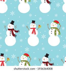 snowman seamless pattern design on blue background