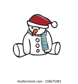 Snowman sitting alone with color scarf isolated