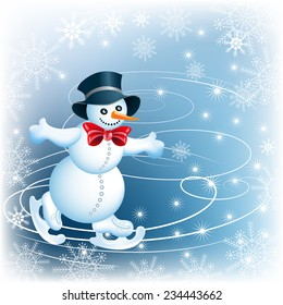 Snowman skates in cylinder hat and red bow