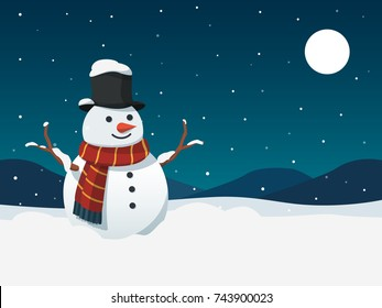 snowman and snowfall with landscape and moon vector illustration