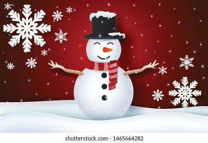 Snowman and snowflake Christmas season paper art, paper craft style on red background illustration