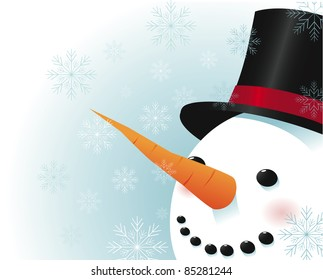 Snowman with snowflakes A smiling snowman, surrounded by snowflakes, smiles as his nose points to your message. EPS 8 vector with no open shapes, strokes or transparencies.