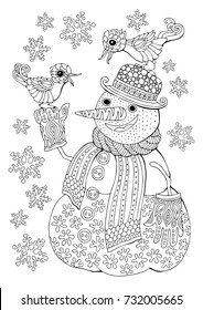 Snowman talking with birds. Snow. Winter mood. Hand drawn sketch for anti-stress adult coloring book in zen-tangle style. Vector illustration  for coloring page.