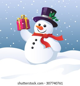 Snowman in a top hat carrying a gift
