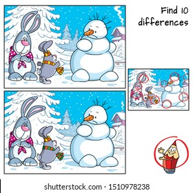 Snowman and two rabbits. Find 10 differences. Educational matching game for children. Cartoon vector illustration