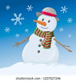 Snowman. Vector illustration