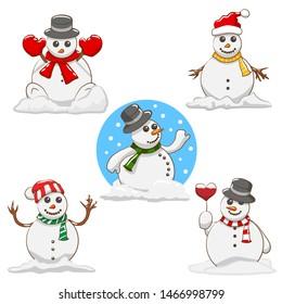 snowman clipart images stock photos vectors shutterstock https www shutterstock com image vector snowman vector set graphic clipart design 1466998799