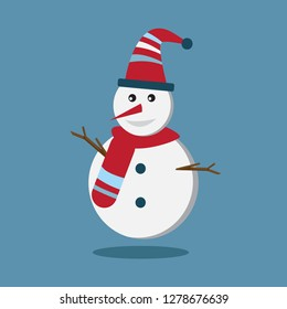 Snowman wear red wool hat and wool scarf with stripe on blue background.