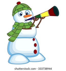 snowman wearing a green head cover and a scarf  blowing horns for your design vector illustration